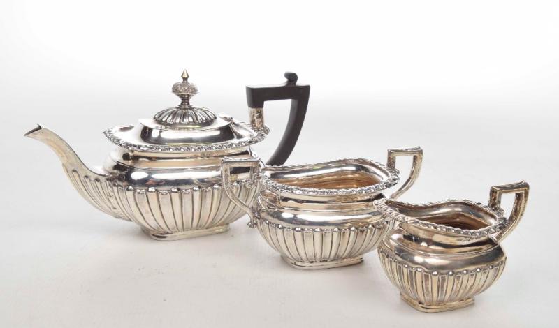 Edwardian Three piece silver tea service.