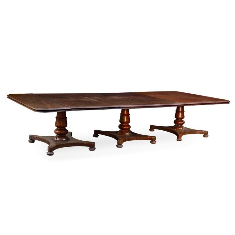 William 1V mahogany triple pedistal dining table.