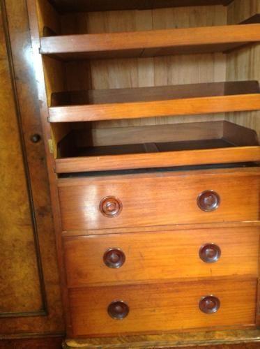 Victorian Burr Walnut three door breakfront wardrobe