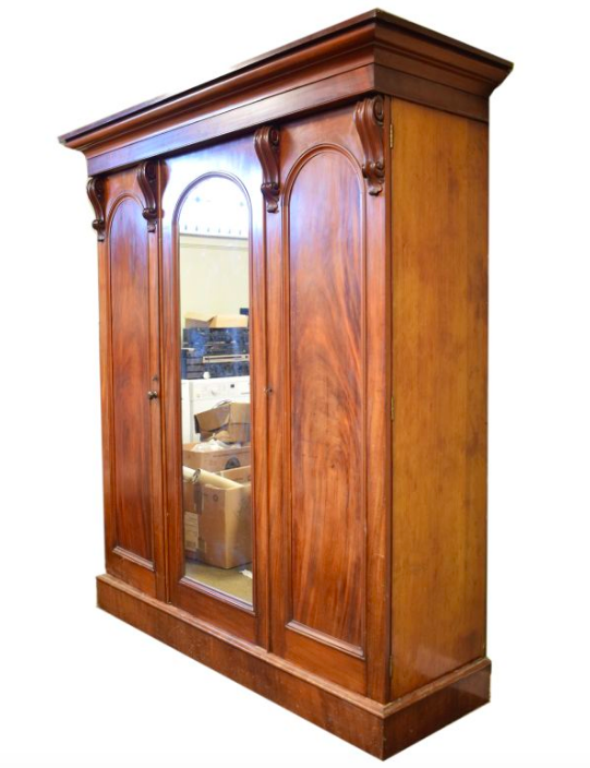 Victorian mahogany three door wardrobe,