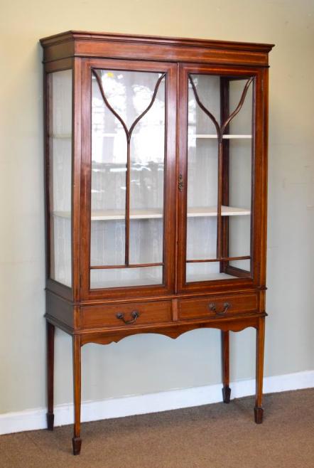 Edwardian two door mahogany Display Cabinet