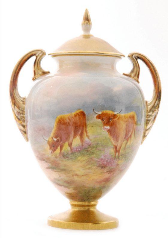 20th Century Royal Worcester twin handled pedestal vase