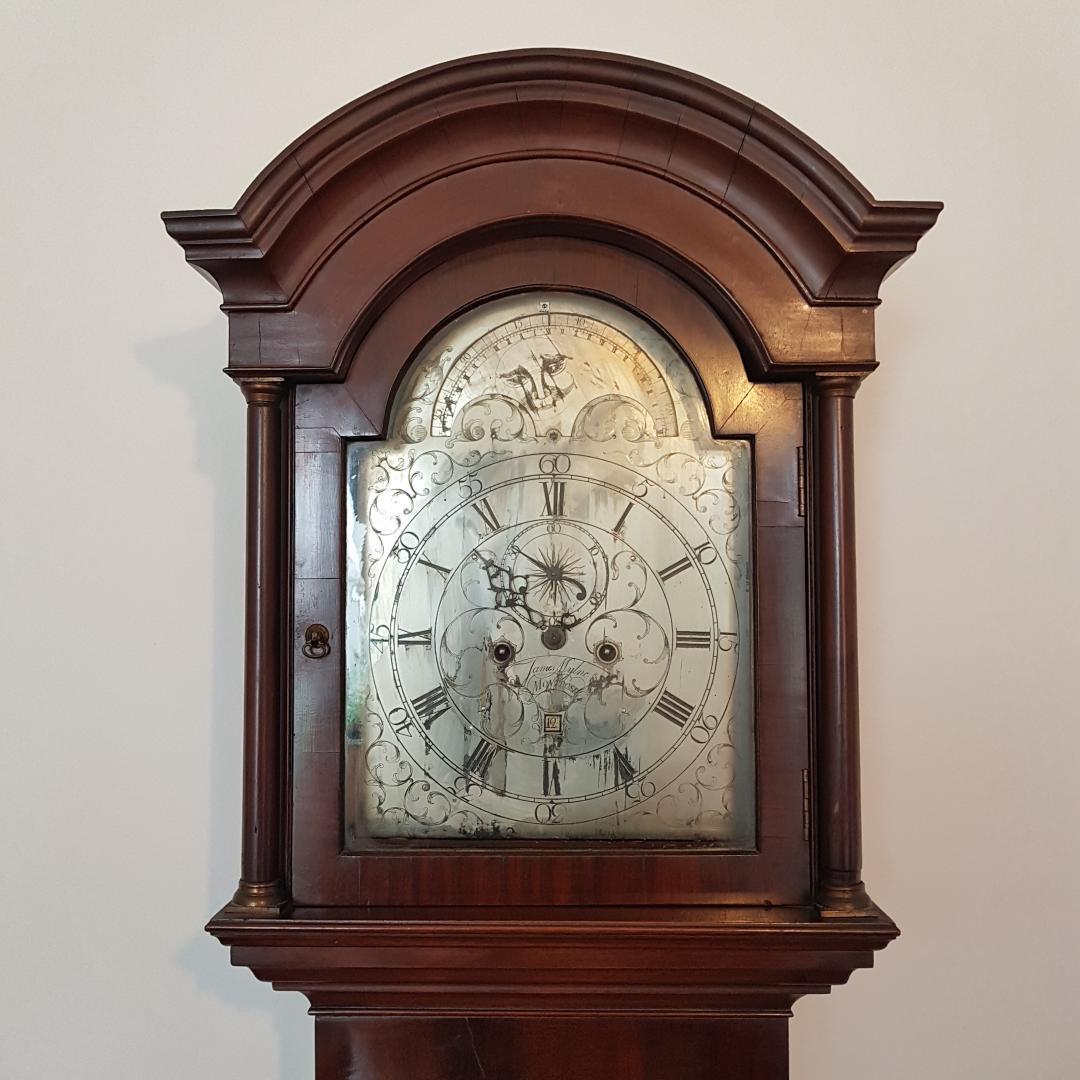 Geo III Scottish mahogany Longcase clock with moon dial.