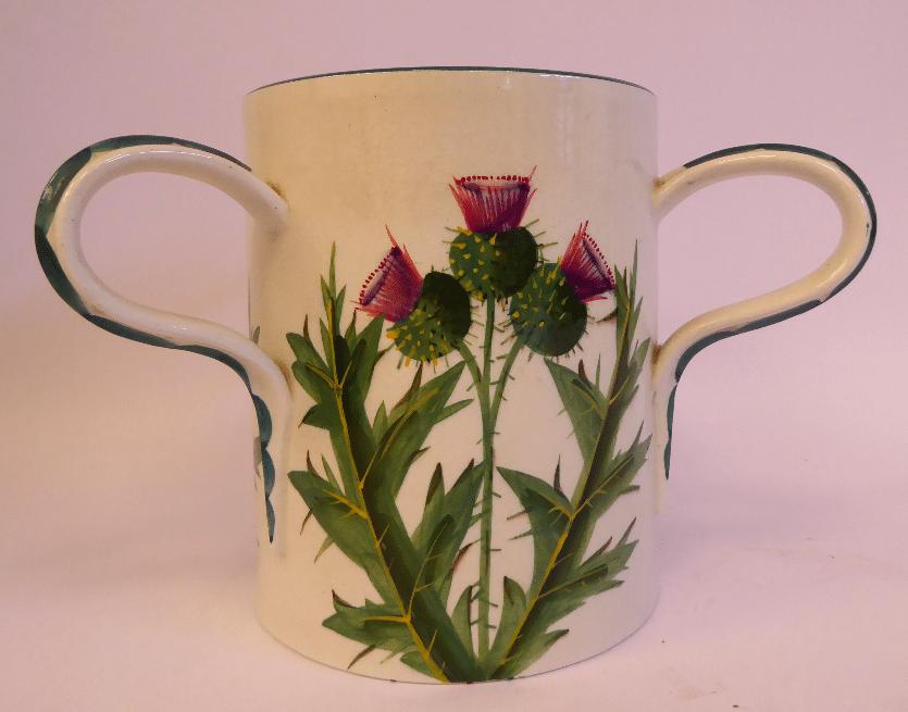 A Wemyss ware pottery Tyg. Thistles.
