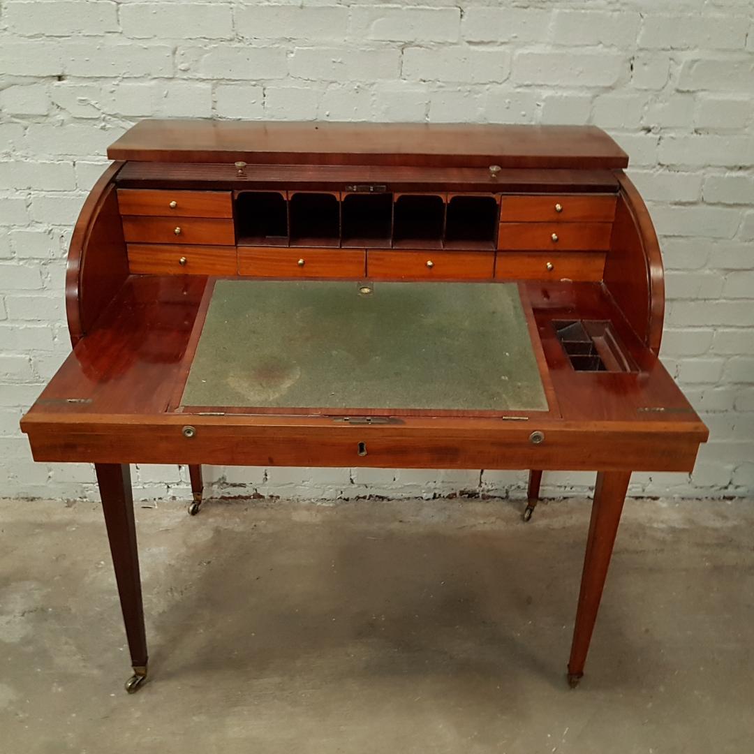 George III Mahogany tambour rolltop desk.