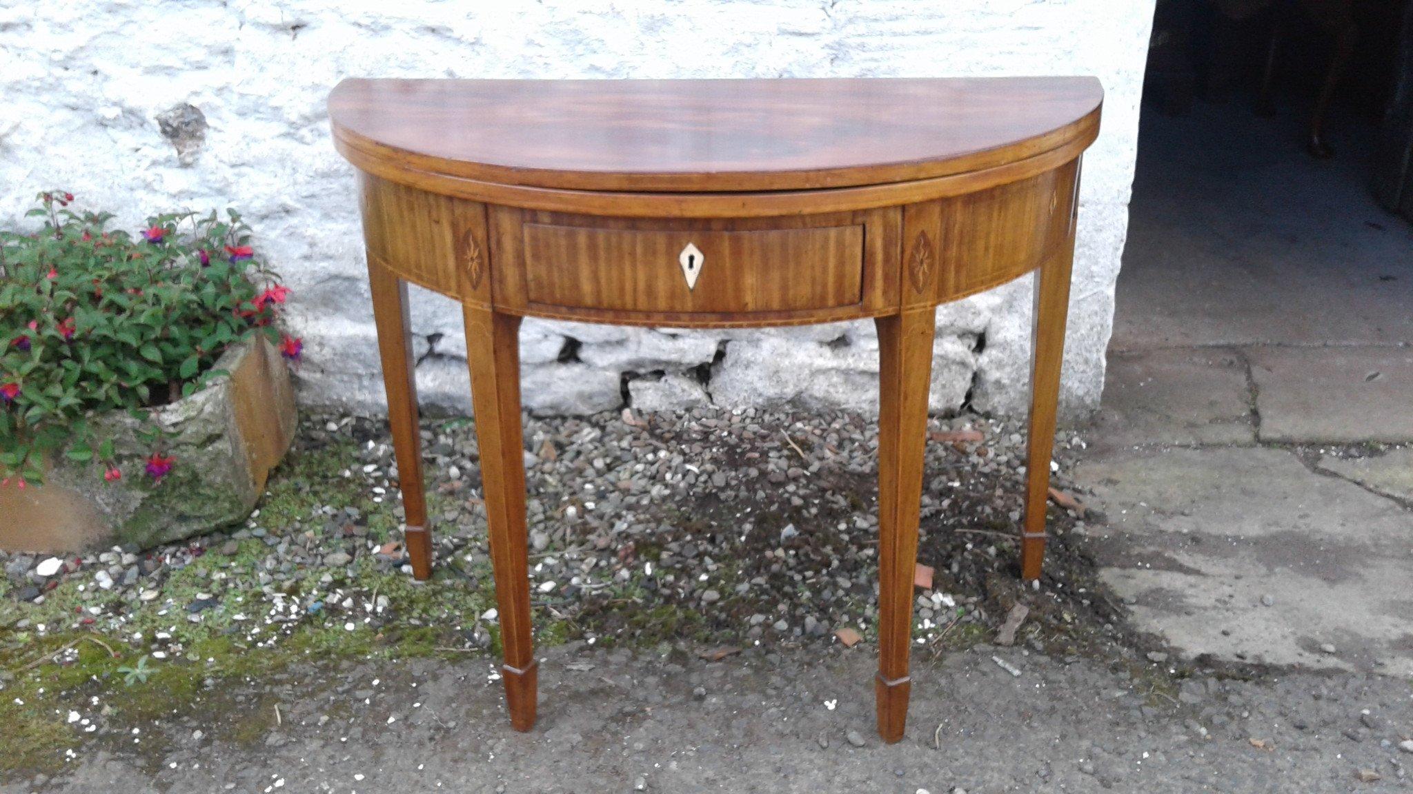 Georgian demi lune ( Half moon) mahogany foldover tea table