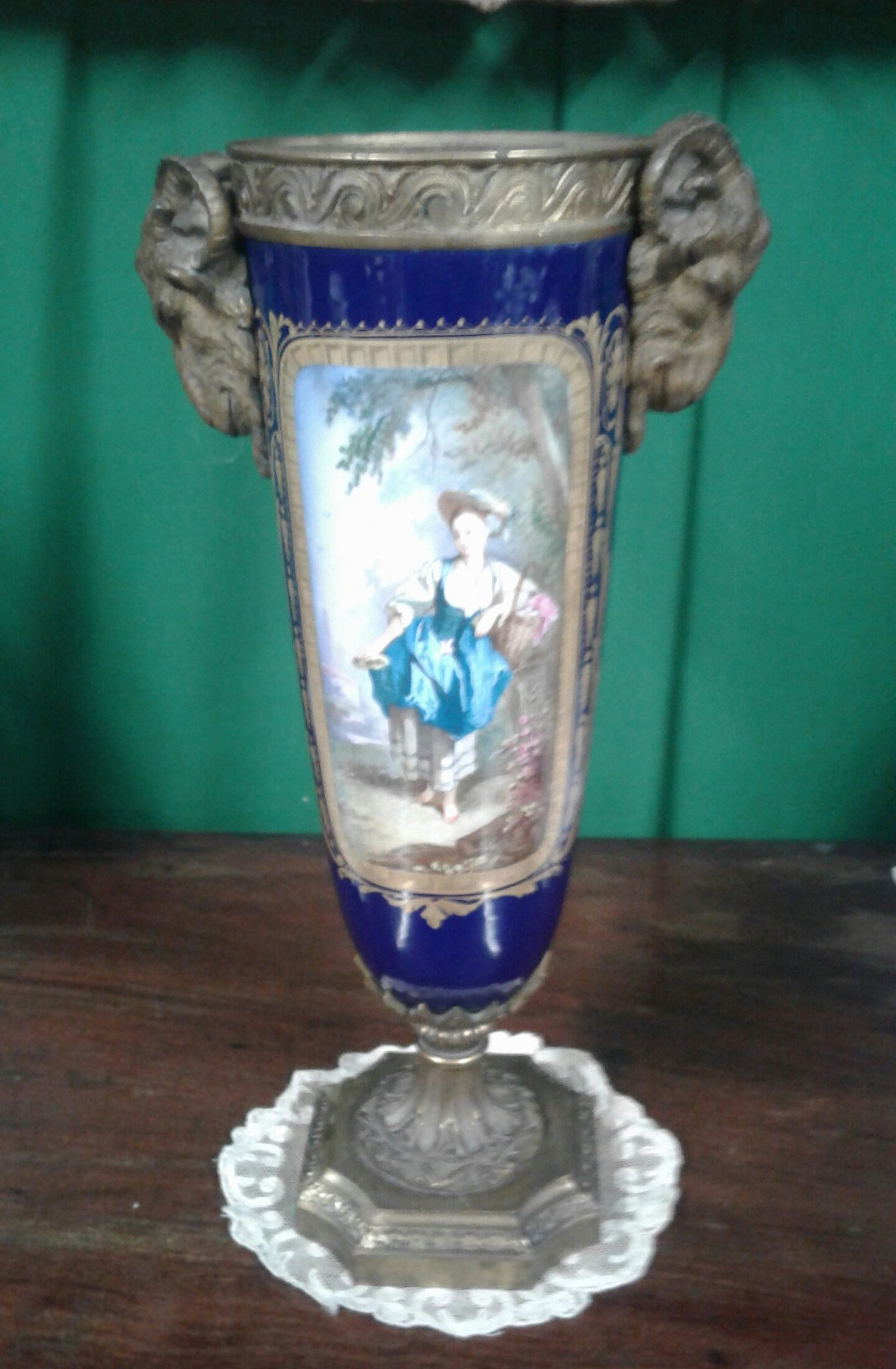 19th century French Sevres style porcelain urn.