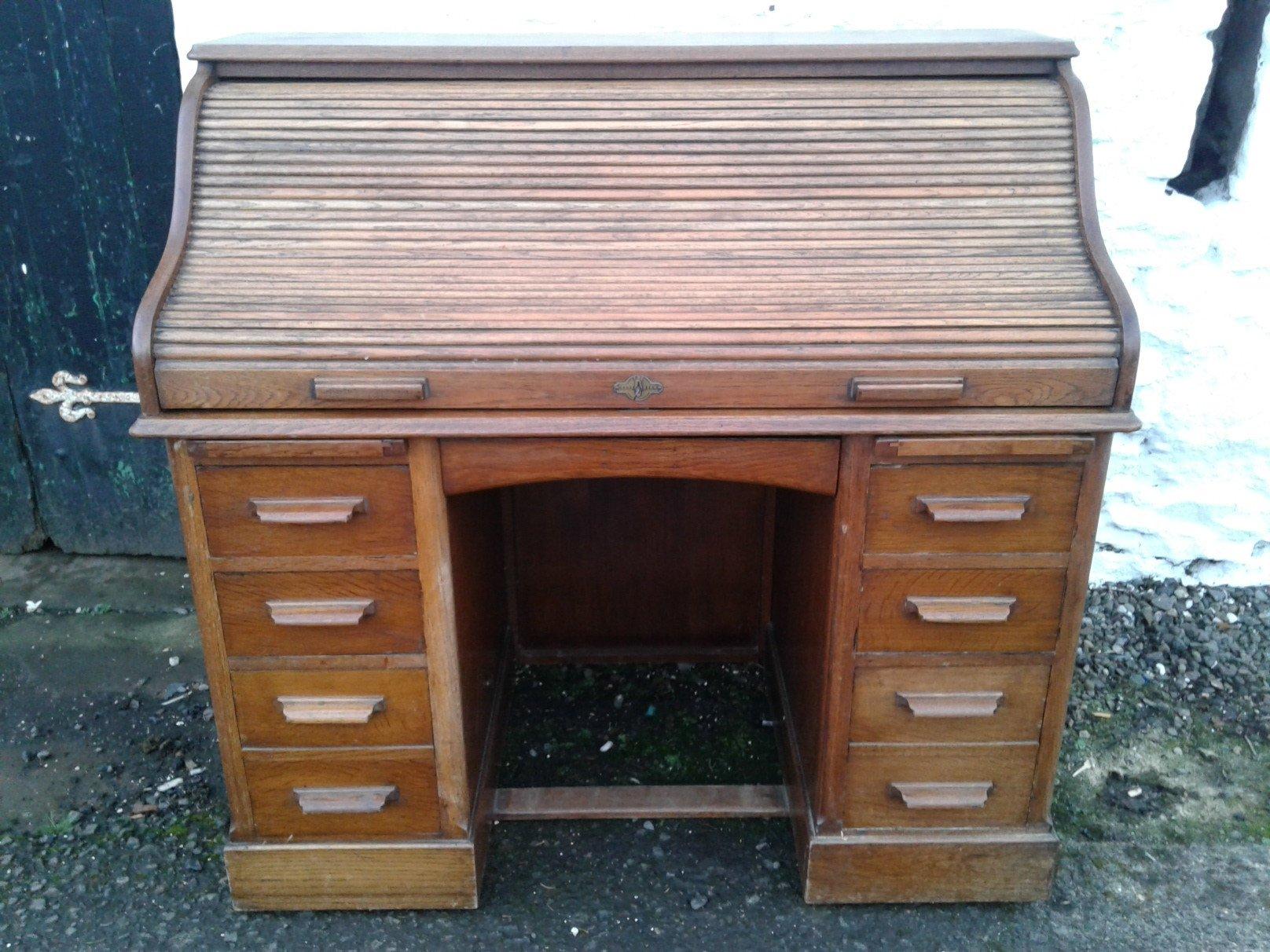 Lebus Edwardian Oak Roll Top desk