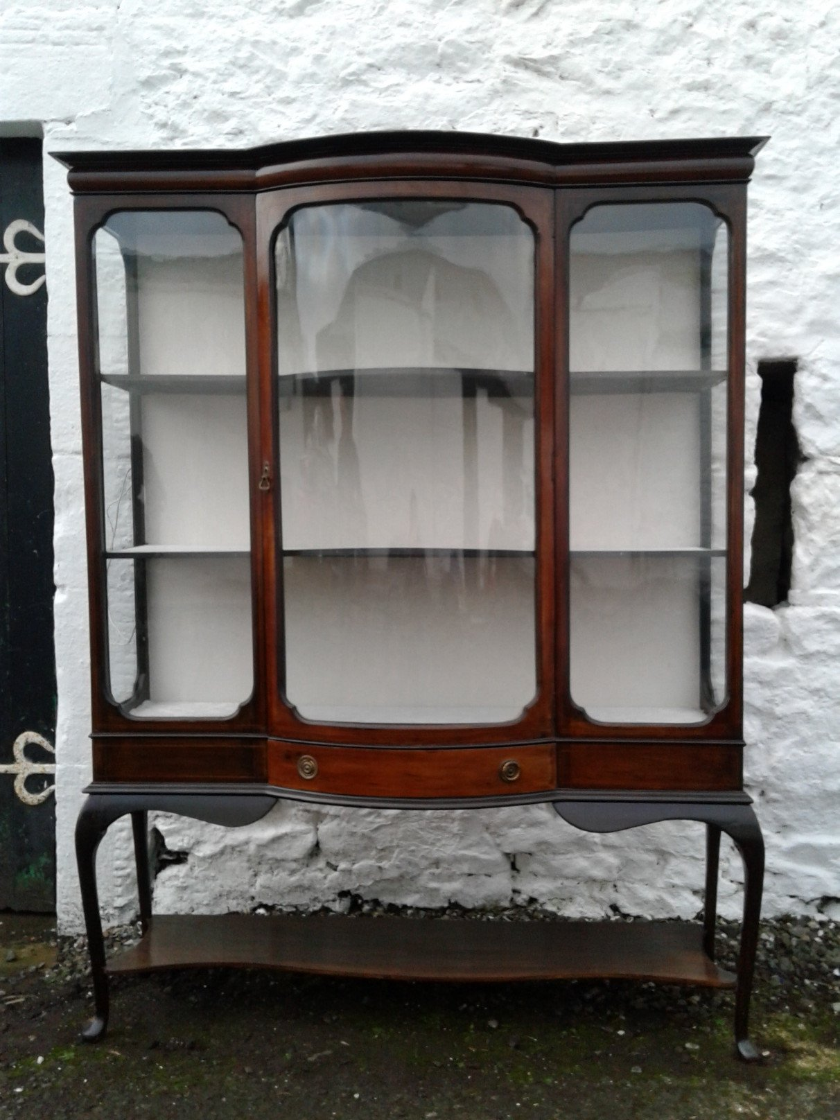 Edwardian mahogany bowfront display cabinet