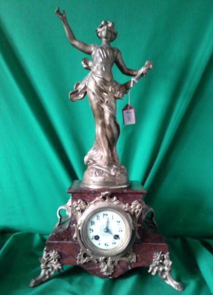 Art Nouveau rouge marble statue mantle clock