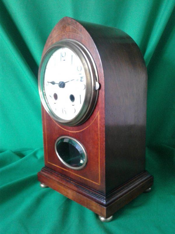 Edwardian mahogany cased lancet clock