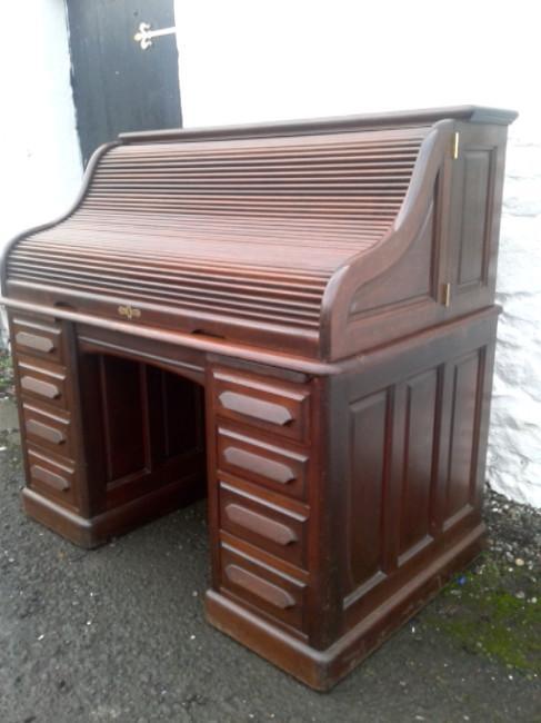 Rare Victorian Mahogany Roll Top Desk,