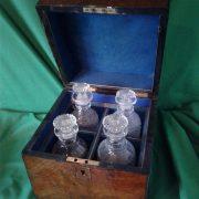 Victorian burr walnut decanter box set.