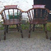 Set 4 Victorian Elm Captain's Chairs