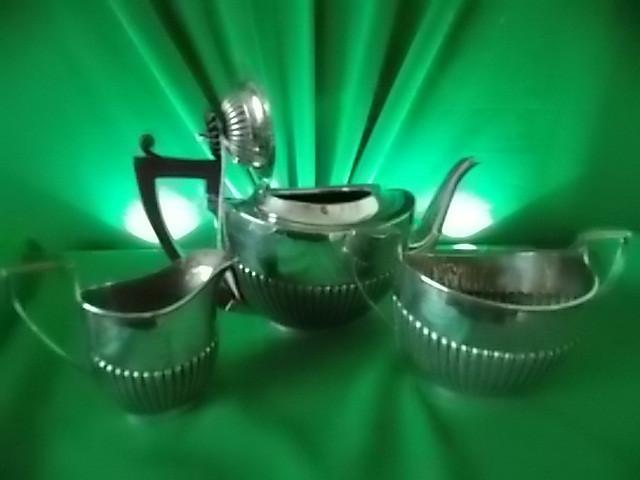 Solid silver three pc tea set