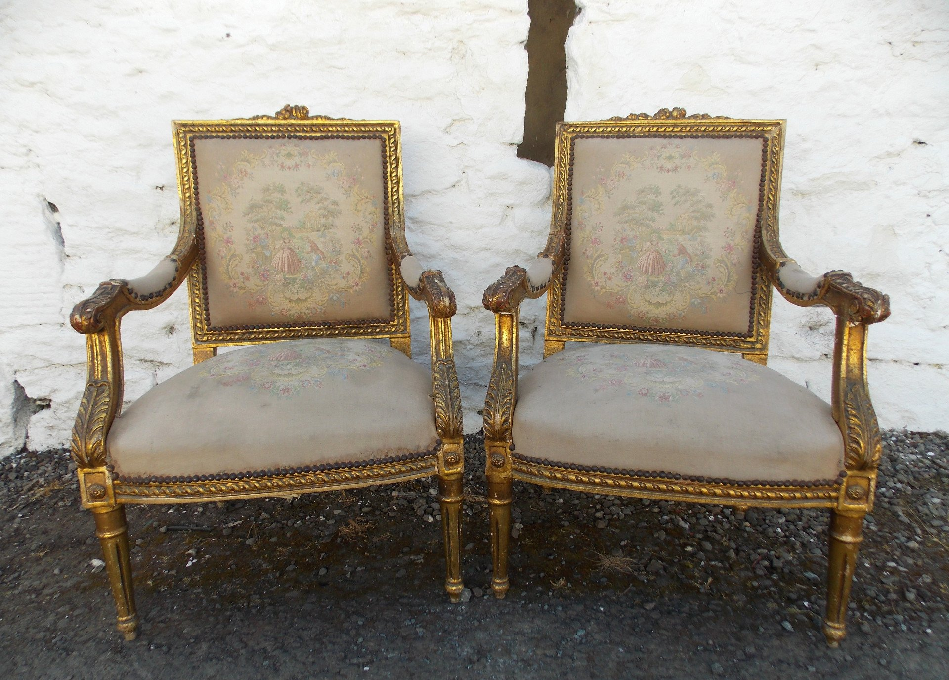 Pair 19th cent French giltwood Fauteails