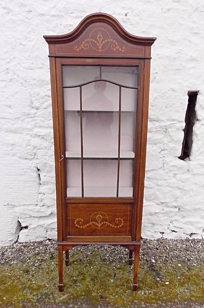 Edwardian single door mahogany display cabinet