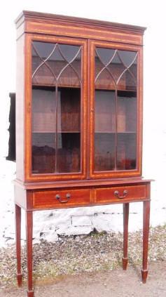 Edwardian astrigal glazed two door mahogany bookcase