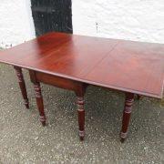 Victorian Six leg drop leaf mahogany dining table.