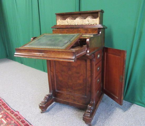Victorian pop up Burr Walnut Davenport Desk