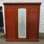 Victorian three door mahogany mirror door wardrobe