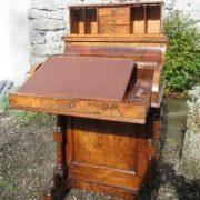 Burr Walnut Piano Top Davenport Desk