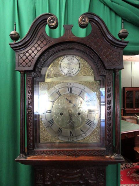 18th cent Georgian Scottish carved oak brass face grandfather clock
