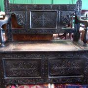 Victorian oak monks bench