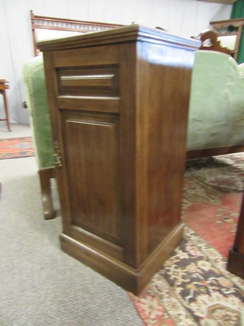 Edwardian cyprus wood bedside cabinet