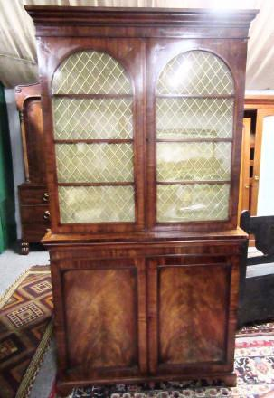 Regency two door mahogany bookcase