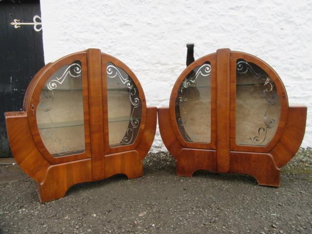 Pr 20th century walnut art deco cabinets