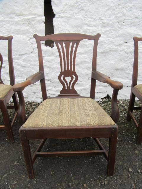 Georgian elm elbow chair with 3 same period side chairs