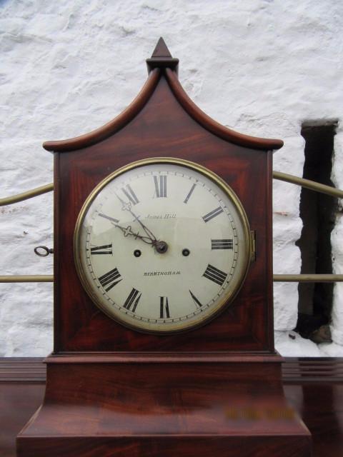 Georgian mahogany pagoda top double fusee bracket clock