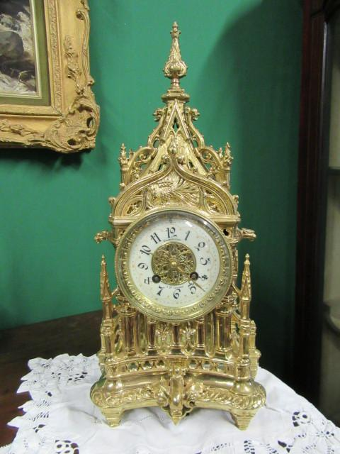 19th cent French gothic style mantle clock.
