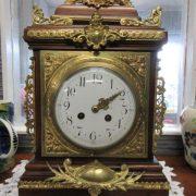 19th cent French walnut and ormolu bracket clock