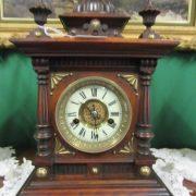 19th cent Oak cased mantle clock