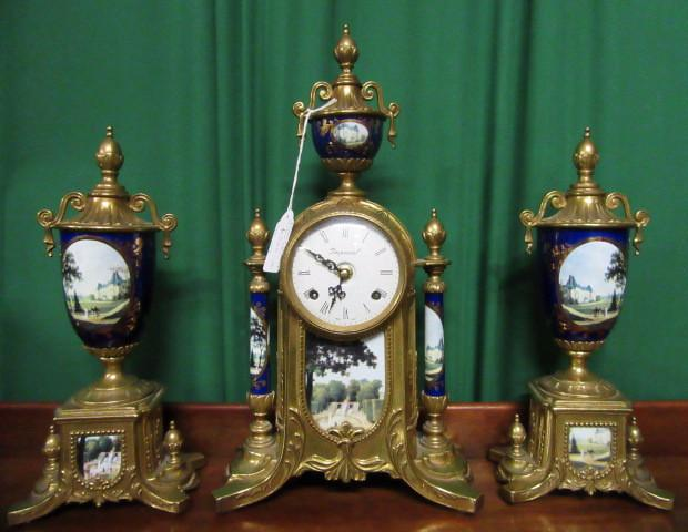 French Sevres style clock garniture