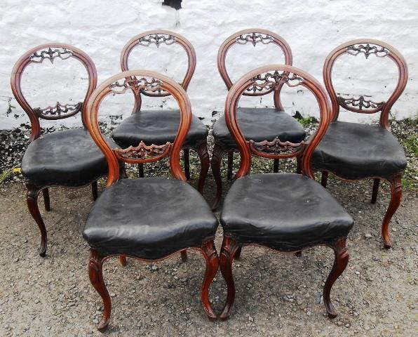 Set 6 Victorian walnut balloon back chairs