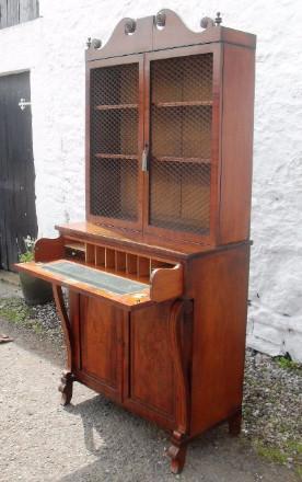 Regency period mahogany secretaire bookcase