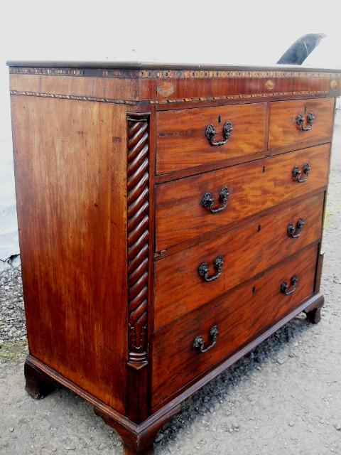 Georgian mahogany 2 over 3 chest of drawers