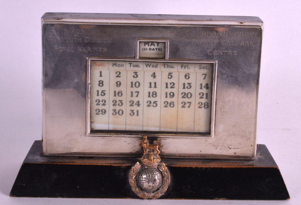 EARLY 20TH C ENGLISH SILVER HALLMARKED DESK CALENDAR