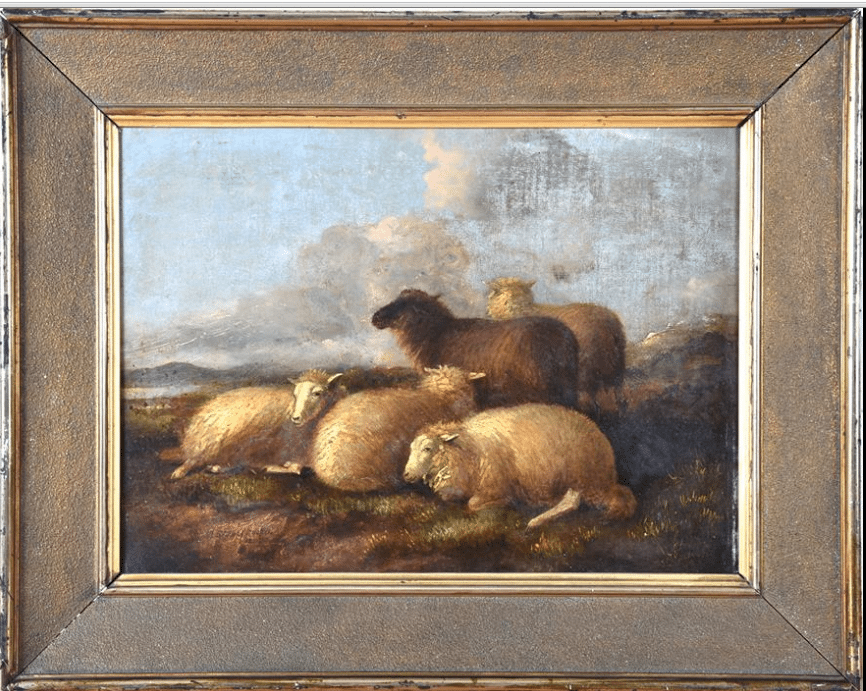 Thomas Sidney Cooper (1803-1902) British sheep resting in a landscape,