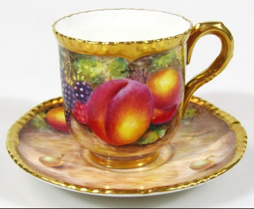 Worcester hand painted fruit pattern cabinet cup and saucer,