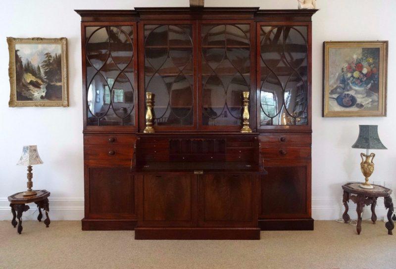 Georgian Breakfront Secretaire Bookcase