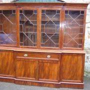 Victorian mahogany 4 door secretaire breakfront bookcase.