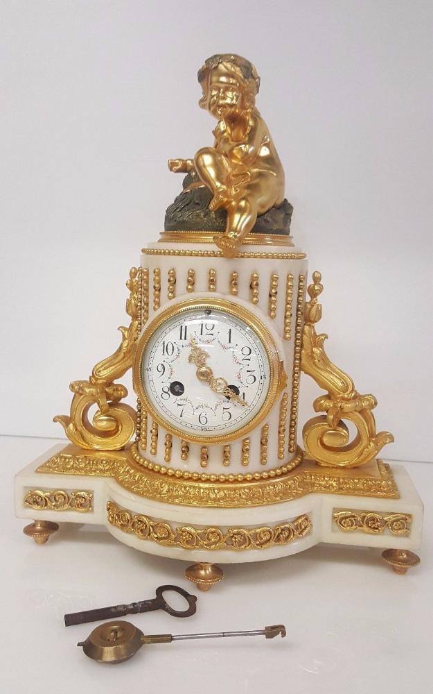 French marble ormolu mantel clock