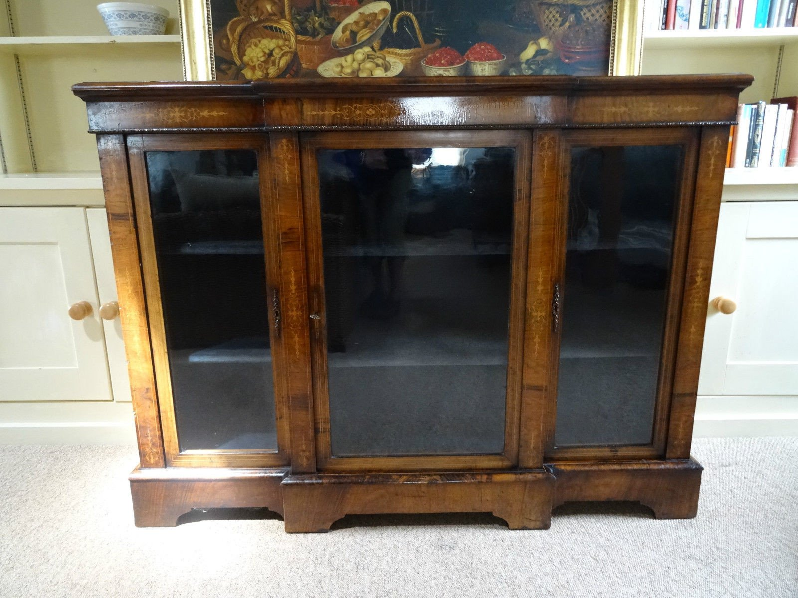Victorian burr walnut and marquetry cabinet